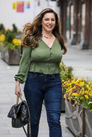Kelly Brook - departing her Heart FM show at the Global Radio Studios in London