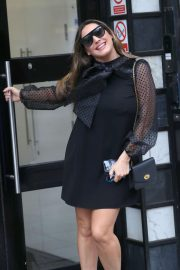 Kelly Brook - In a black minidress on Valentine's Day at the Heart Radio Studios in London
