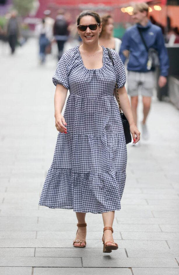 Kelly Brook - In a gingham cotton dress in London
