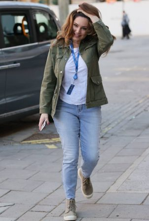 Kelly Brook - In a Khaki Jacket and Denim jeans in London