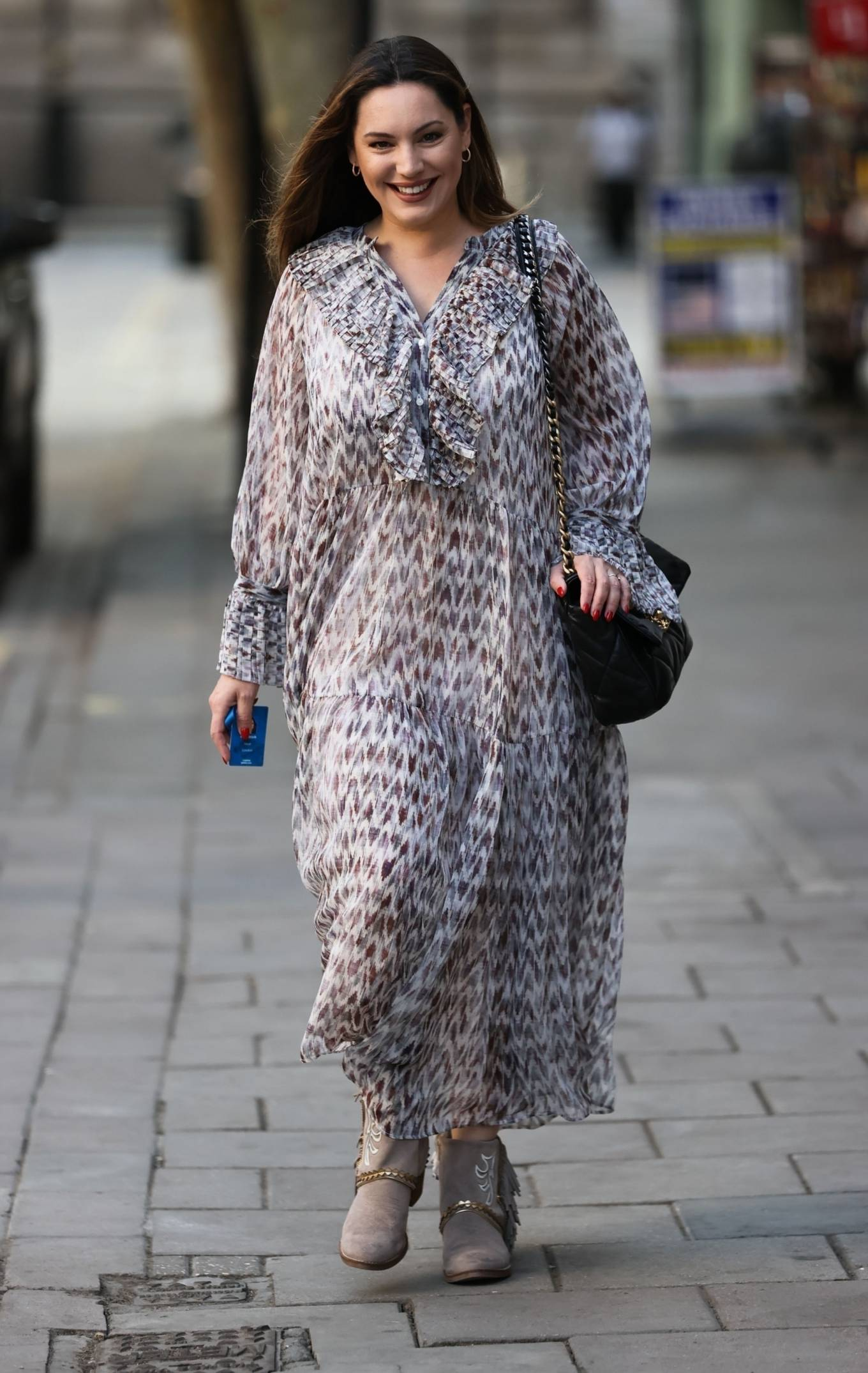 Kelly Brook - In a long flowing dress at the Heart Radio Studios in London