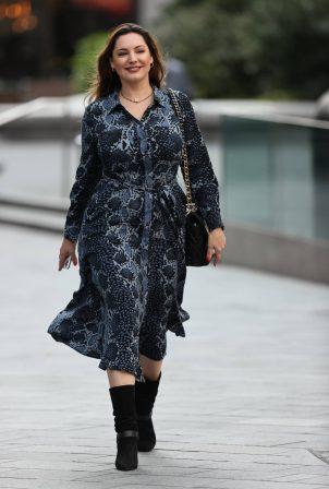 Kelly Brook - In a snakeskin patterned flattering dress in London