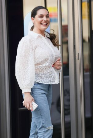 Kelly Brook - In a white blouse at Heart radio appearance in London