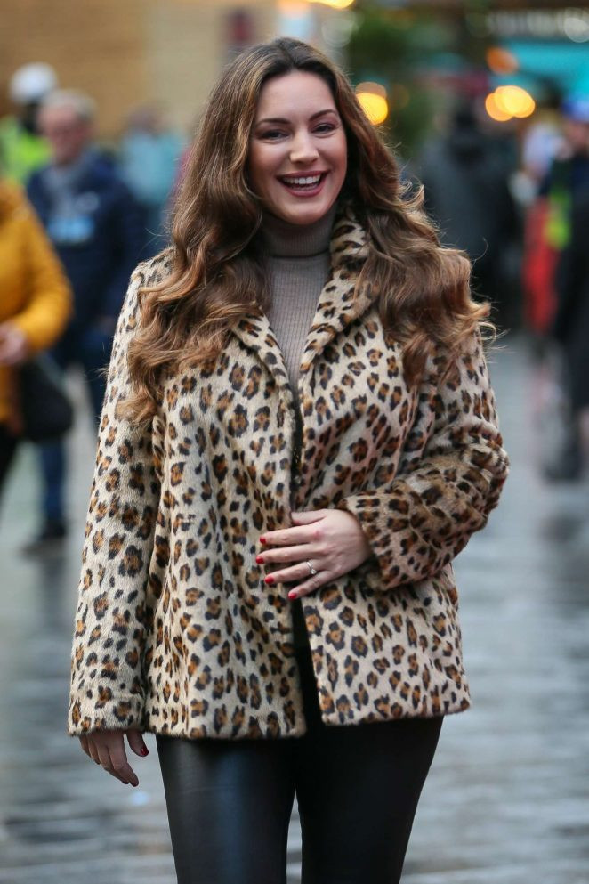 Kelly Brook in Animal Print Coat - Arriving at Heart Radio Studios in London