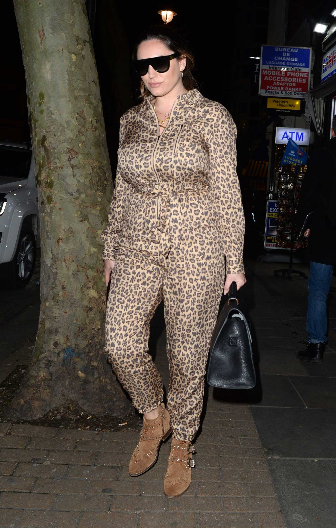 Kelly Brook in Animal Print Jumpsuit - Leaving Global Radio Studios in London