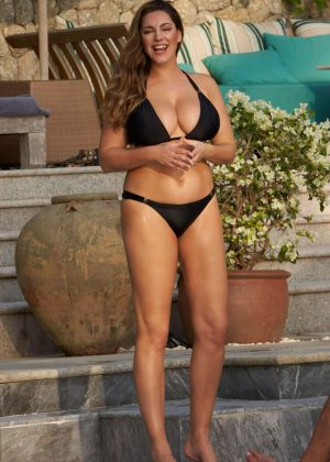 Kelly Brook in Black Bikini on the pool in Phuket