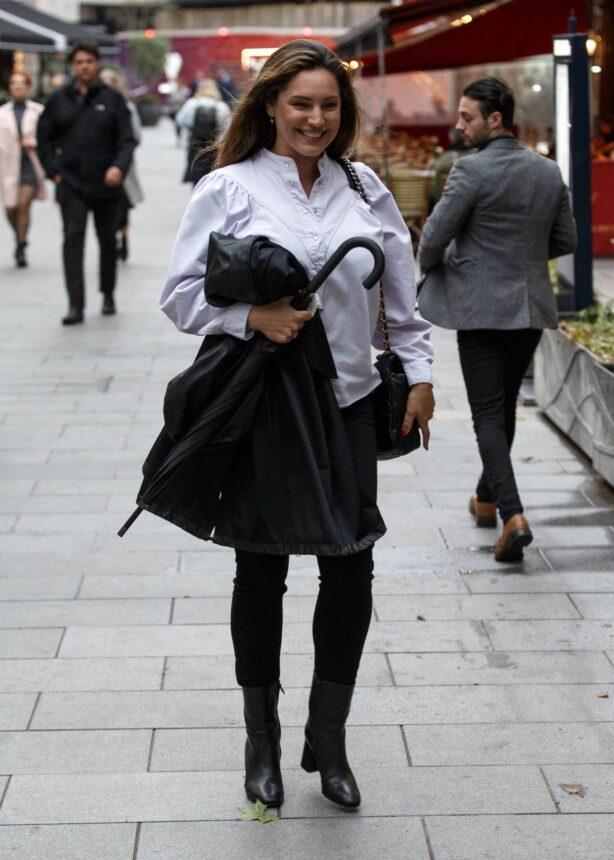 Kelly Brook - In black skirt at Global Radio Studios in London