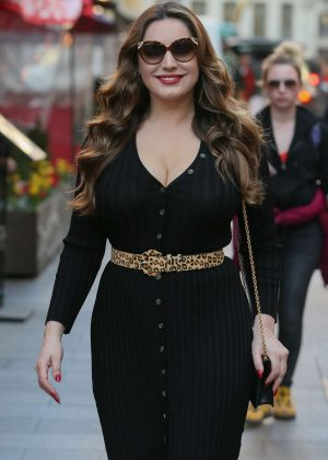 Kelly Brook in Black Tight Dress at Global Radio studios in London