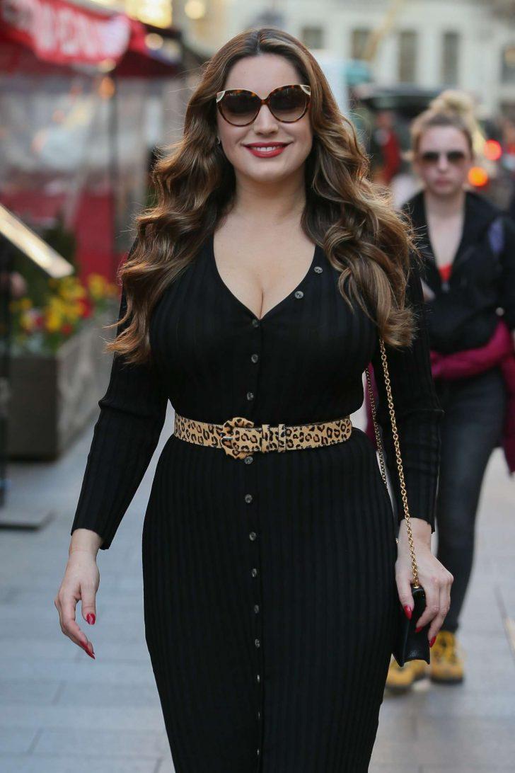 Kelly Brook in Black Tight Dress at Global Radio studios in London