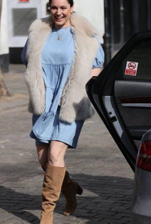Kelly Brook - In blue dress leaving Global Radio Studios in London