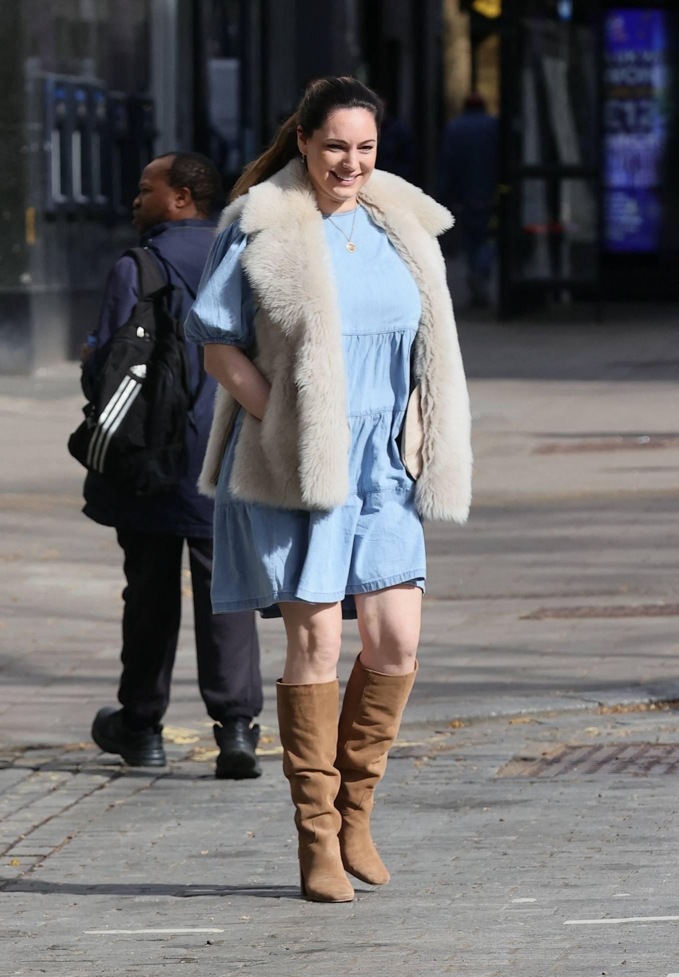 Kelly Brook 2021 : Kelly Brook – In blue dress leaving Global Radio Studios in London-17