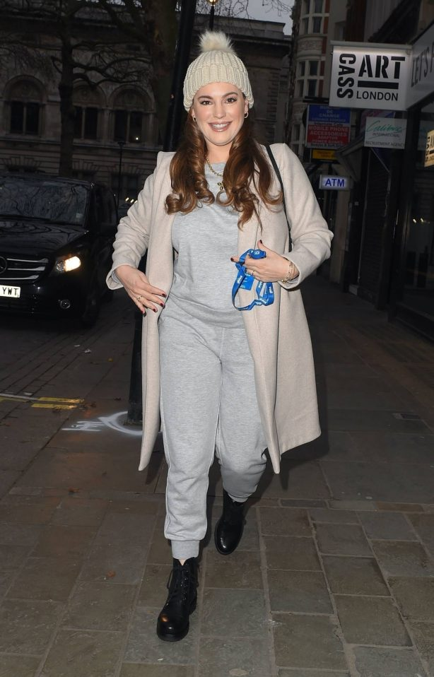 Kelly Brook - In cold weather at the Global Radio Studios in London