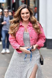 Kelly Brook in Denim Jacket - Arriving at Global Radio Studios in London