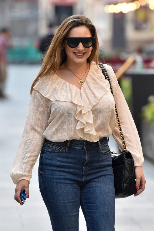 Kelly Brook - In denim outside Heart Radio in London