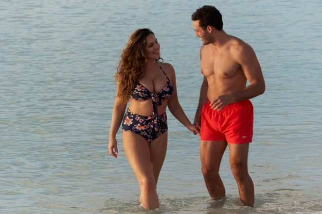 Kelly Brook in Floral Bikini with boyfriend in Antigua