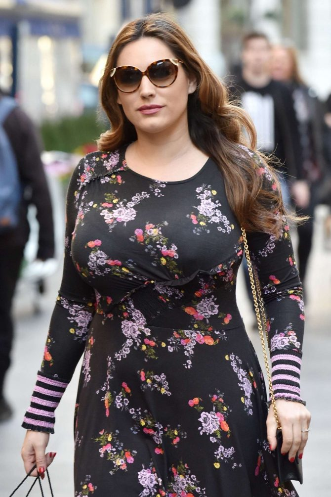 Kelly Brook in Floral Dress - Arriving at Global Radio in London