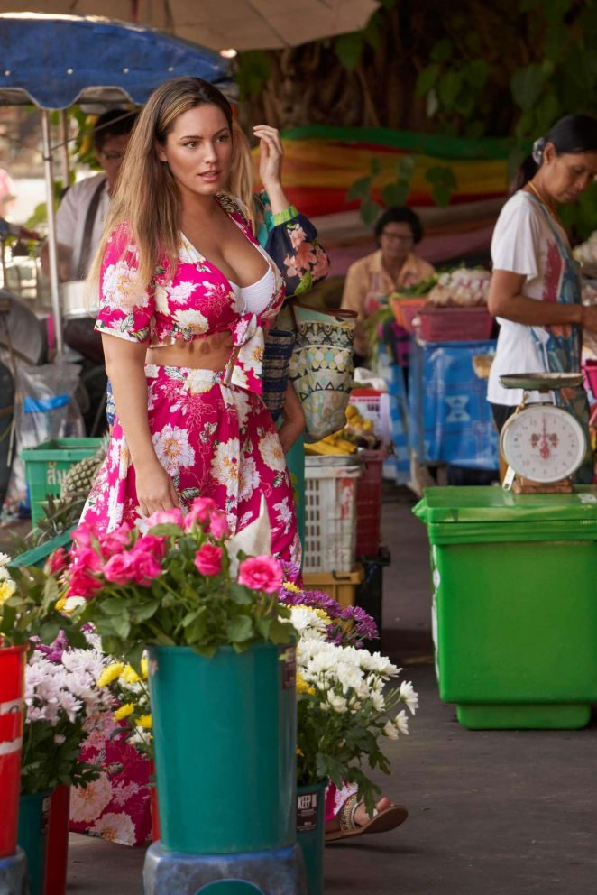Kelly Brook in Floral Dress at the market in Phuket