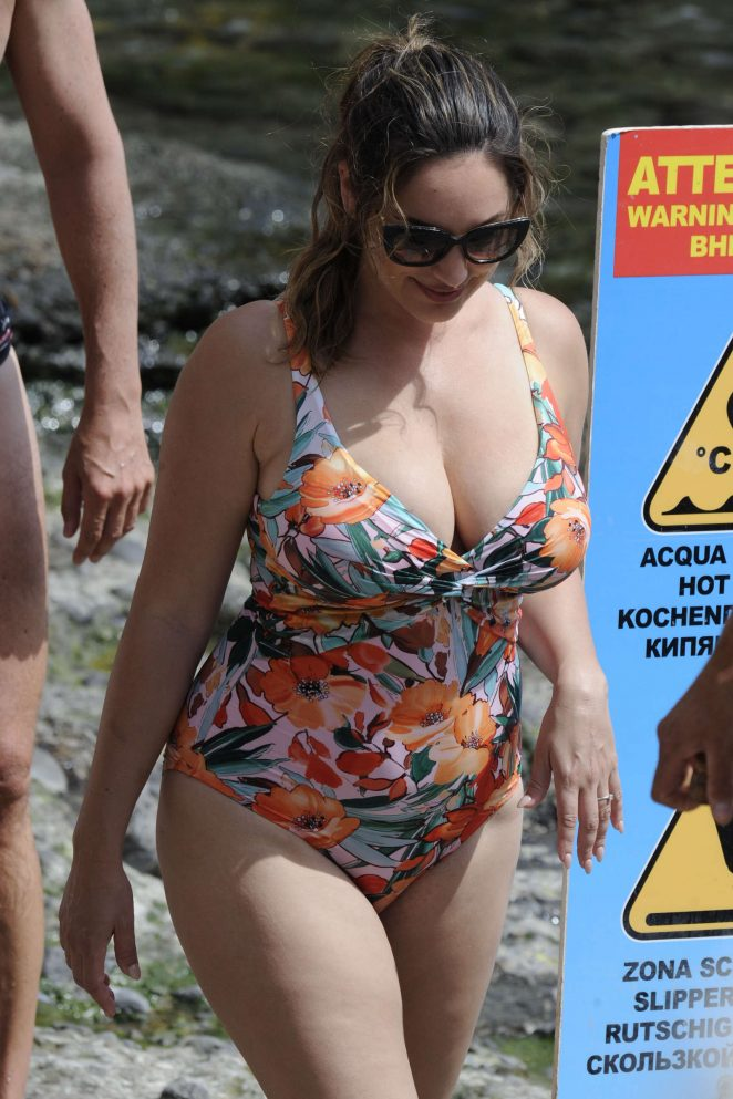 Kelly Brook in Floral Swimsuit in Ischia