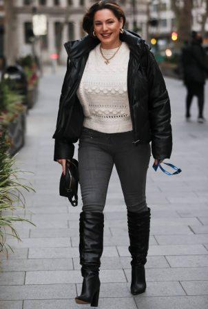 Kelly Brook - In high knee boots seen outside Heart Radio in London