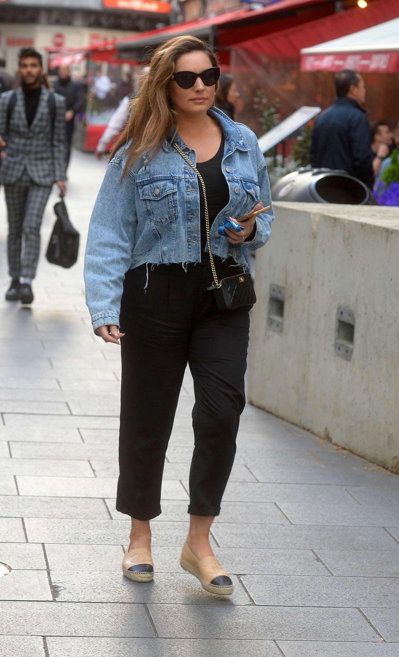 Kelly Brook in Jeans Jacket at Global Radio Studios in London