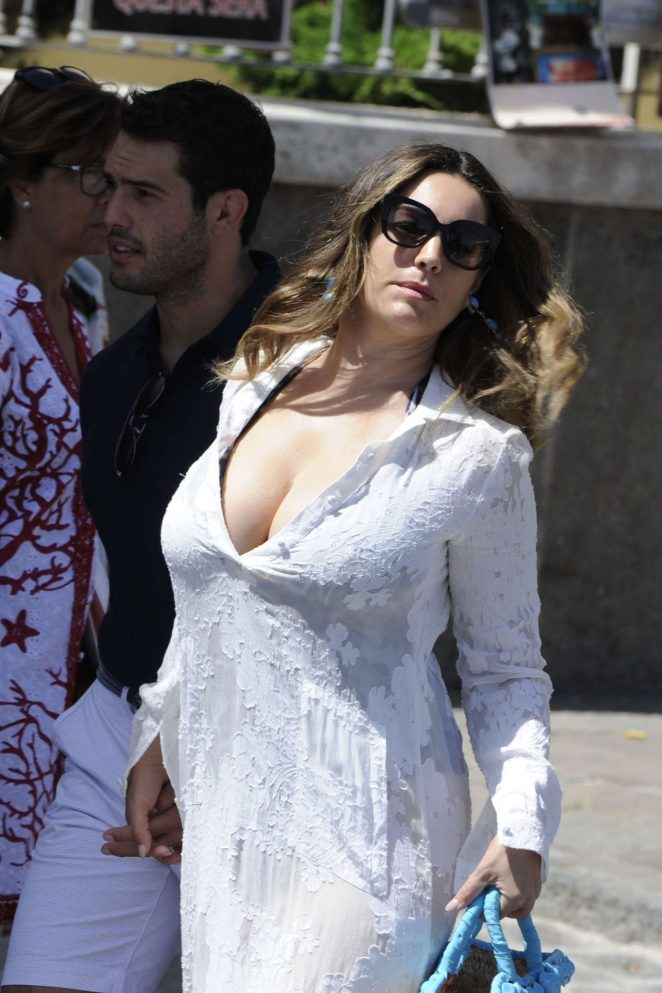Kelly Brook in Long Dress Out in Ischia