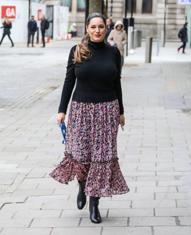 Kelly Brook - In long skirt at the Global Radio Studios in London