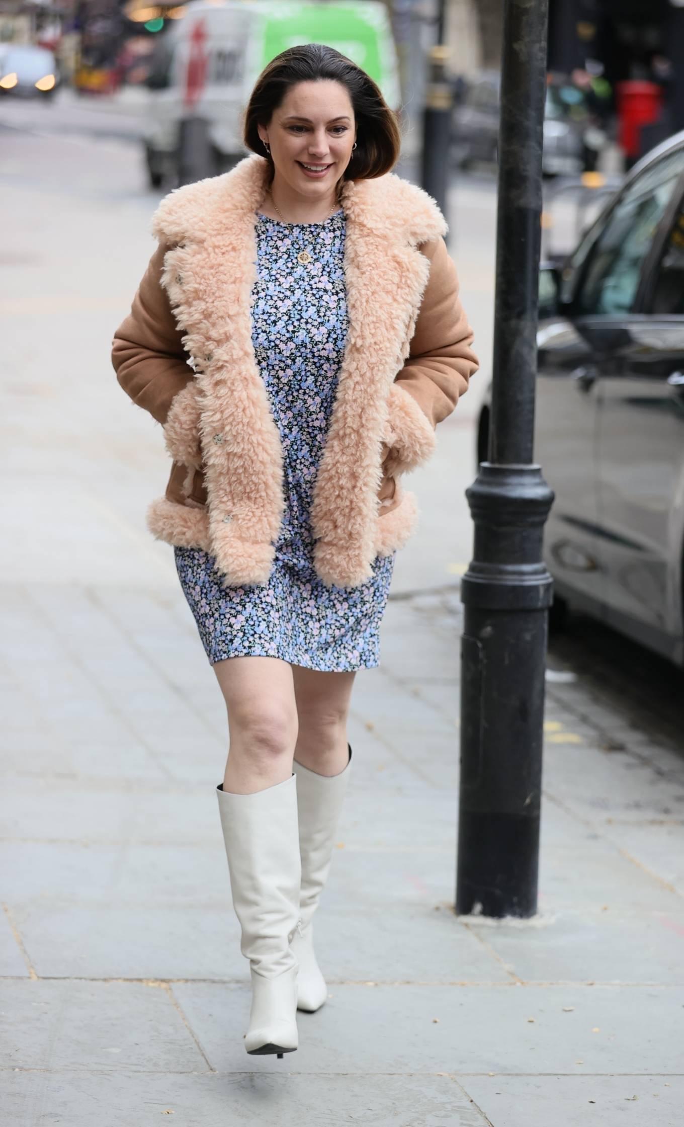 Kelly Brook 2021 : Kelly Brook – In mini dress leaving Global Radio Studios in London-01