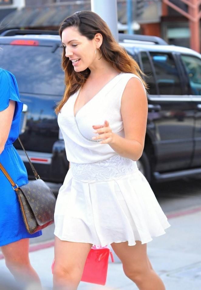 Kelly Brook in White Mini Dress -10