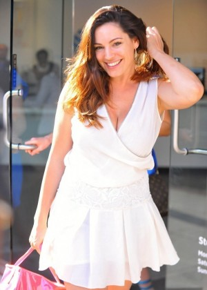 Kelly Brook in White Mini Dress -15
