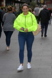 Kelly Brook in Neon Sweatshirt - Global Radio Studios In London
