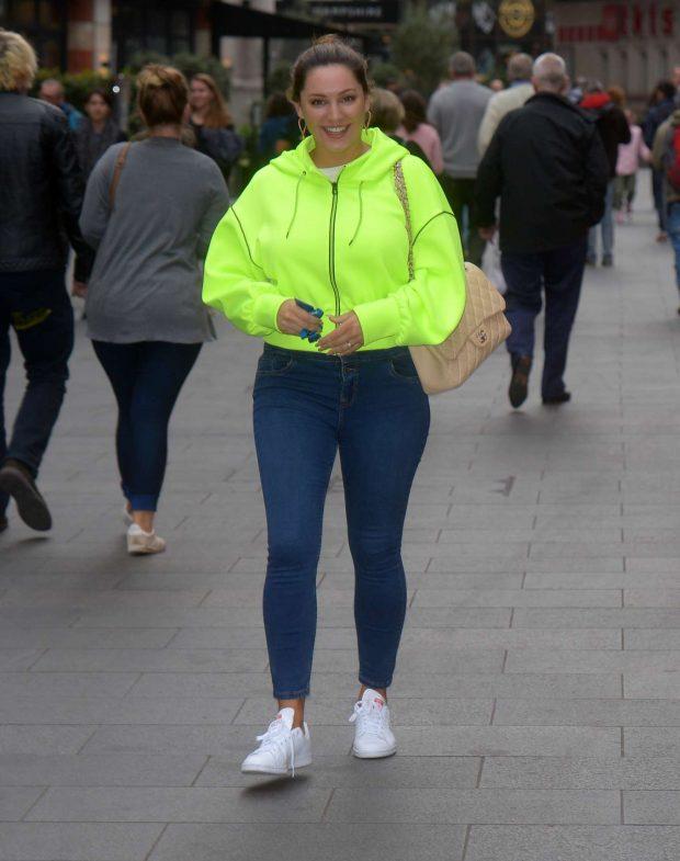 Kelly Brook in Neon Sweatshirt - Global Radio Studios In London