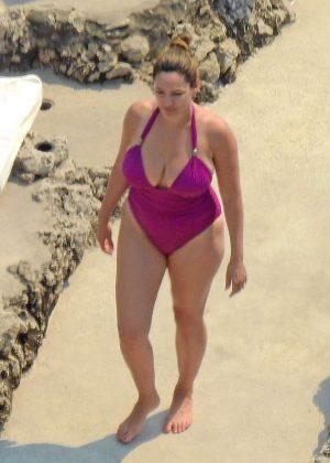 Kelly Brook in Purple Swimsuit in Capri