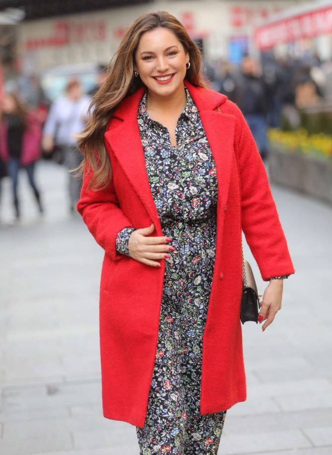 Kelly Brook in Red Coat - Exit Heart Radio in London