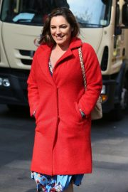 Kelly Brook in Red Coat - Leaving Heart Radio Studios in London