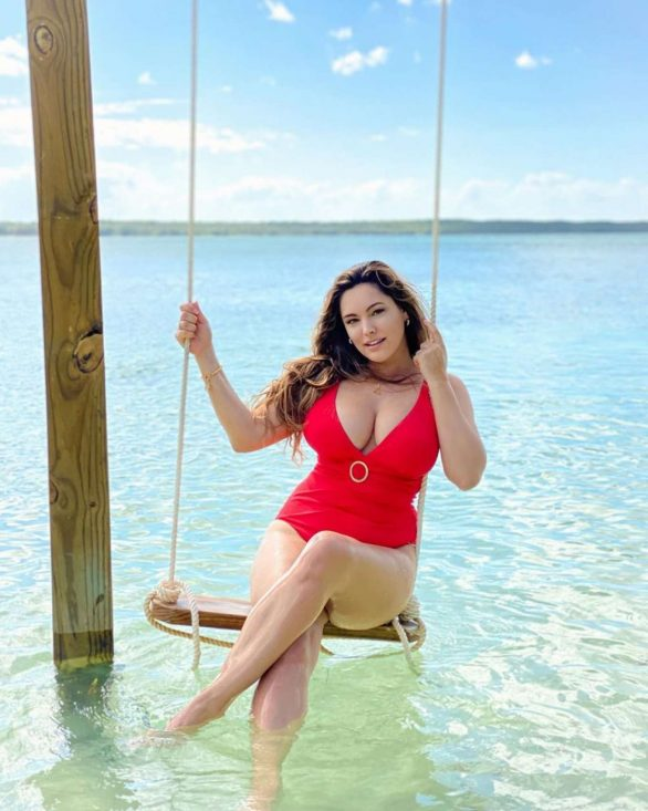 Kelly Brook in Red Swimsuit in the Bahamas - Instagram