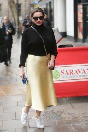 Kelly Brook in Satin Skirt - Heart Radio Studios in London