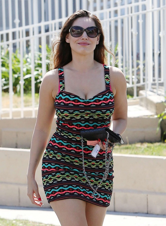 Kelly Brook in Tight Mini Dress Out in LA