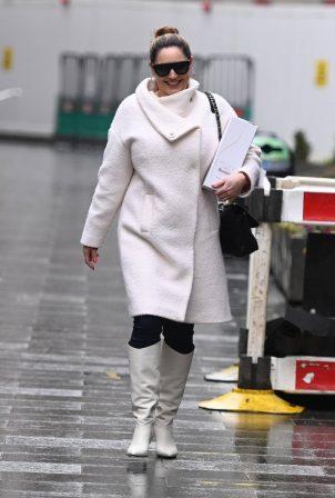 Kelly Brook - In white coat at The Global Radio Studios in London