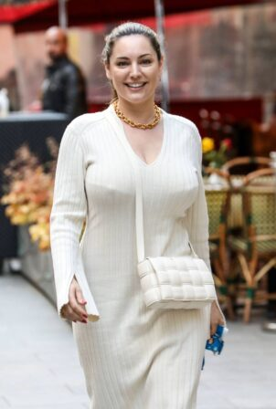 Kelly Brook - In white dress at the Global Radio Studios in London