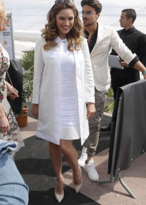 Kelly Brook in White Dress Out in Cannes