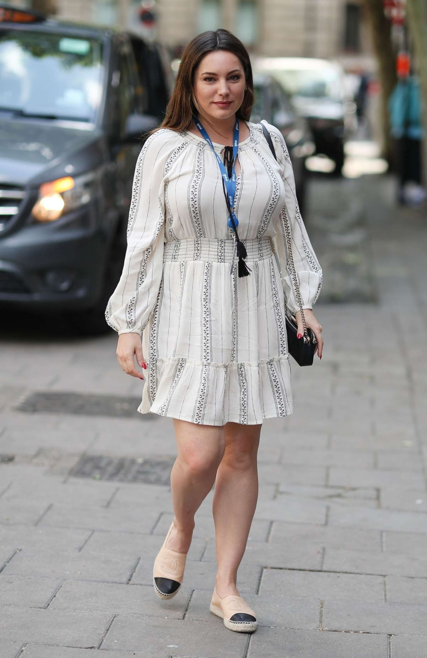 Kelly Brook in White Summer Dress - Out in London
