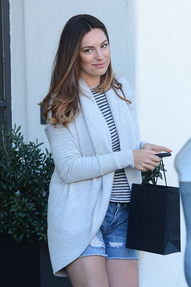 Kelly Brook in Shorts - Leaves a Hair Salon in West Hollywood