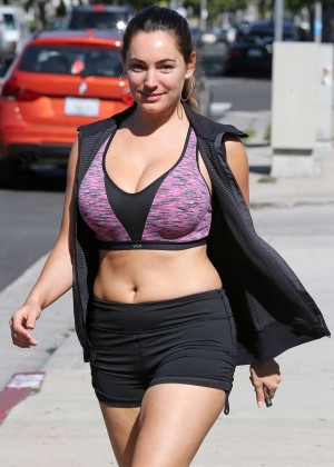 Kelly Brook in Tiny Shorts and Sports Bra - Leaving Workout Class