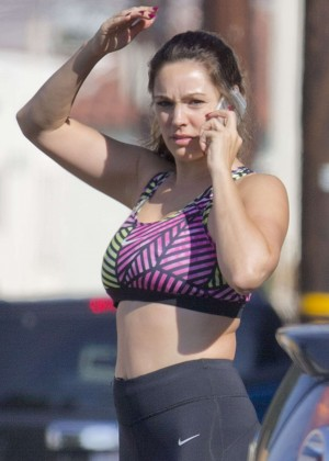 Kelly Brook in Tights and Sport Bra Out in LA