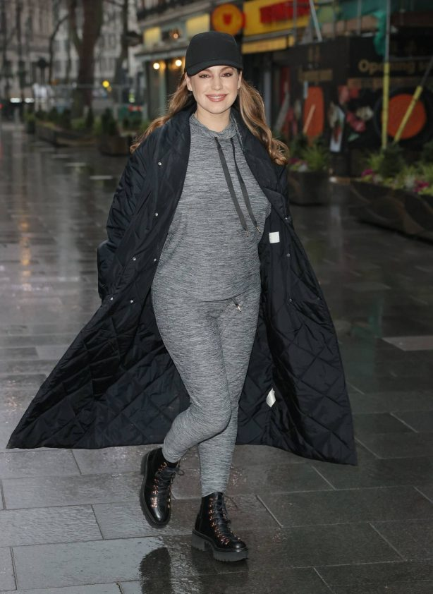 Kelly Brook - Out in grey joggers and boots out in London