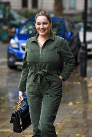 Kelly Brook - Seen at Heart radio in green jumpsuit in London