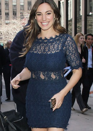 Kelly Brook in Blue Tight Dress at SiriusXM Studios in NYC