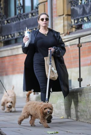Kelly Brook - Spotted while walking her Cavapoo puppy Teddy in Hampstead