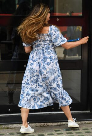 Kelly Brook - Steps out in a floral dress at Heart Radio in London