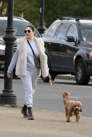 Kelly Brook - Takes a dog walk with boyfriend Jeremy Parisi in London